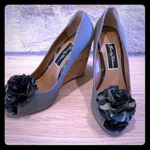 Beverly Feldman Rosette Wedge Shoes